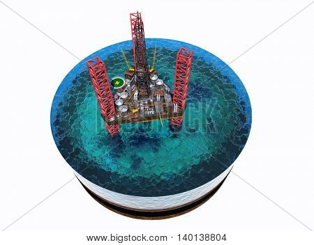 Oil production on the model of the sea.,3d render