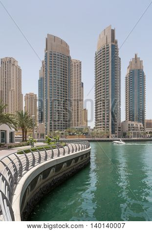 pedestrian walkway in district Marina in Dubai