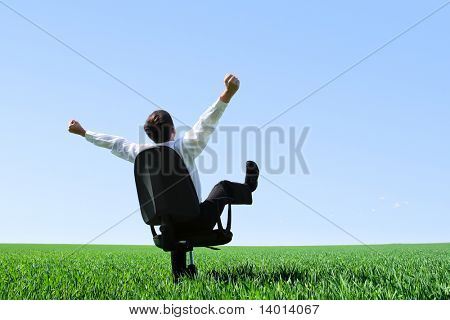 Happy businessman sitting on chair on green meadow