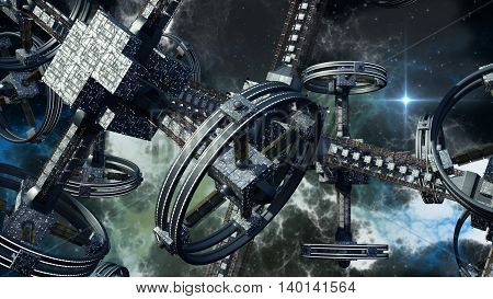 3D rendering of technologically advanced spaceship for war games, futuristic space travel and science fiction backgrounds