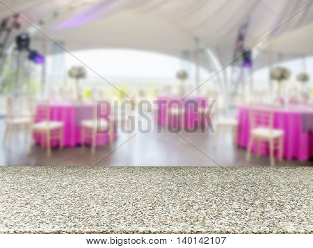 Marble empty table in front of blurred restaurant interior background. Perspective marble board over blur in restaurant or cafe - mockup for display or montage your products