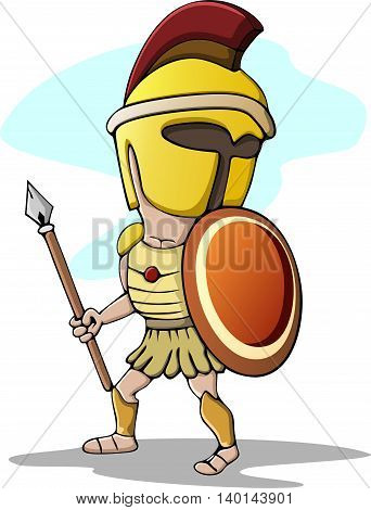 Cartoon Graphic of a Greek Spartan or Trojan Mascot holding a shield and spear