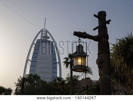 DUBAI, UAE - MAY 14, 2016: lantern in front of Burj Al Arab hotel in Dubai