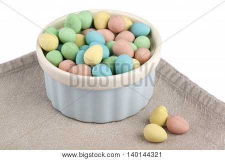 colorful dyed easter eggs isolated on white background
