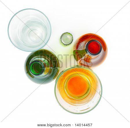 Beer glasses and bottles