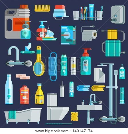 Flat colored hygiene icons set of bathroom equipment elements detergent toiletries at dark blue background isolated vector illustration