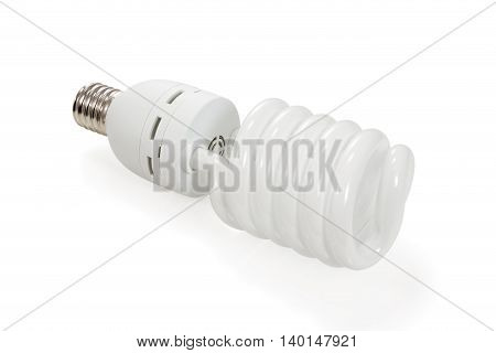 Economical energy saving spiral fluorescent lamp isolated on white background