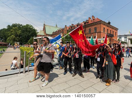 CRACOW POLAND - JULY 26 2016: World Youth Day 2016 - Pilgrims from China in the Sanctuary of Divine Mercy in Lagiewniki. Cracow Poland
