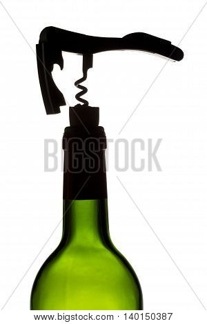 cork screw on wine bottle isolated on white background