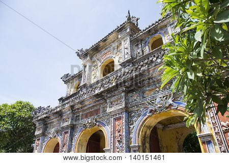 A gate of Imperial Royal Palace of Nguyen dynasty in Hue, Vietnam poster