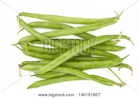 fresh green beans isolated on white background