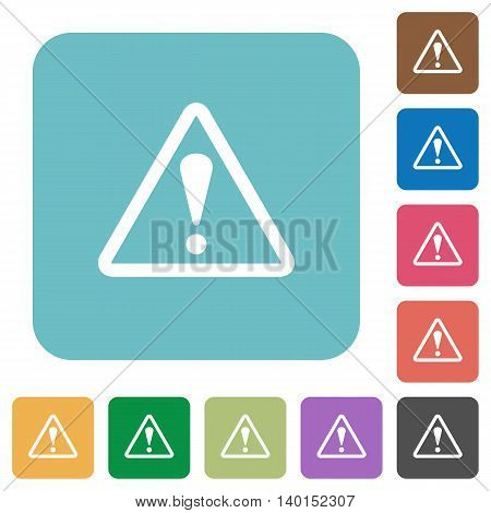 Flat warning sign icons on rounded square color backgrounds.