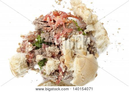 crushed burger sandwich isolated on a white background