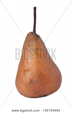 decaying pear isolated on a white background