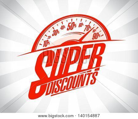Super discounts design mockup, sale banner with speedometer