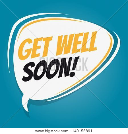get well soon retro speech balloon
