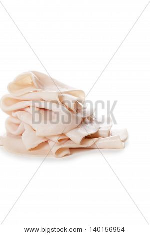 turkey meat slices isolated on a white background