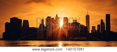 Panoramic view of New York City Manhattan midtown at sunset