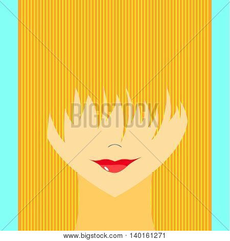 Stylized girl with face covered long bangs. Noface woman. poster