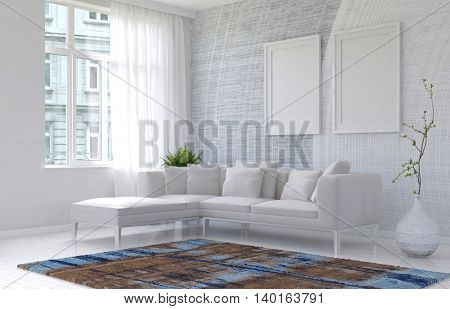 Bright white modern living room interior in an apartment with a modular corner sofa with two blank picture frames on the wall and an airy window, 3d rendering