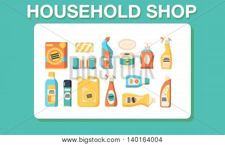 Household shop cleaning icon set. Vector illustration