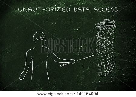 masked man stealing files falling off a cloud made of electronic circuits concept of data theft and unauthorized access