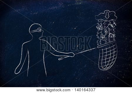 masked man stealing files falling off a cloud with download arrow icon concept of data theft and unauthorized access