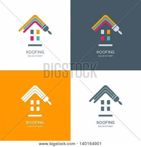 House Repair, Roofing Vector Logo, Label, Emblem Design.