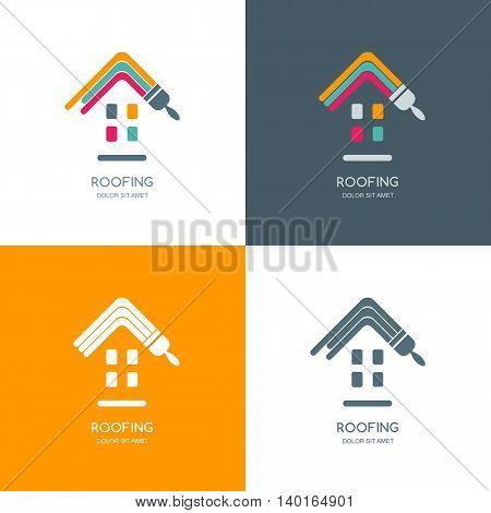 House Repair, Roofing Vector Logo, Label, Emblem Design.