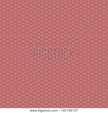 Red japanese wave seamless pattern background. Traditional oriental fabric or paper print decor for wrapping or packaging printing. Japan sea concept design. Vector illustration stock vector.
