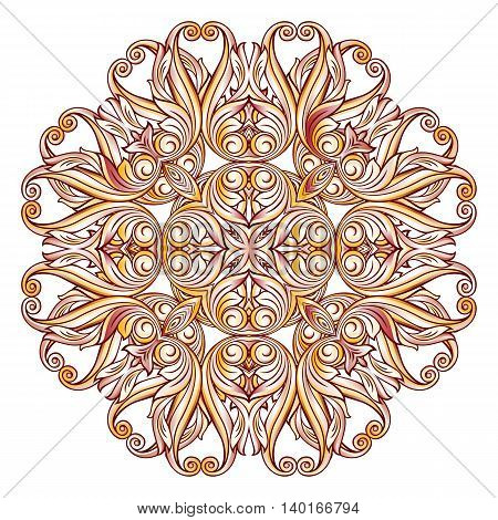 Abstract florid pattern in pastel rose pink and yellow shades on white background