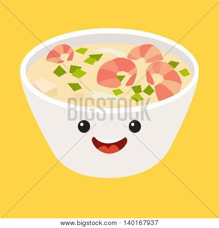 Fun Tom kha kai vector cartoon character. Cute Tom Yum Kung Thai spicy soup's faces with shrimp japanese food. Happy food characters vector illustration isolated