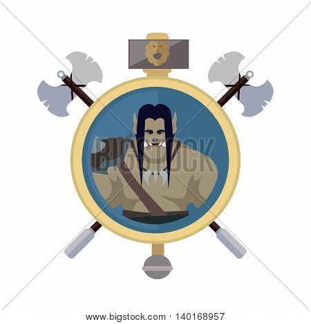Orc with axes, isolated avatar icon. Orc warrior with black hair and armors. Stylized fantasy characters. Game object in flat design isolated on white background. Vector illustration.