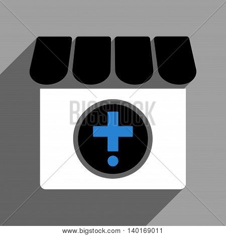 Drugstore long shadow vector icon. Style is a flat drugstore black and white iconic symbol on a gray square background.
