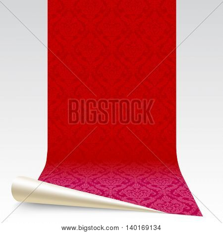 Red rolled wallpaper with vintage ornament isolated on white.  Wallpaper segment. Vector Illustration
