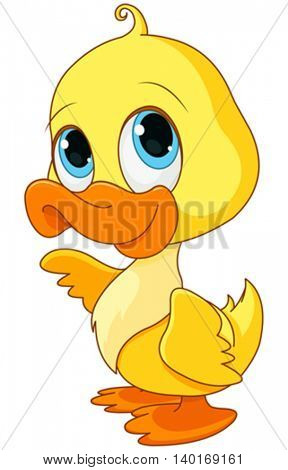 Illustration of baby duck smiling