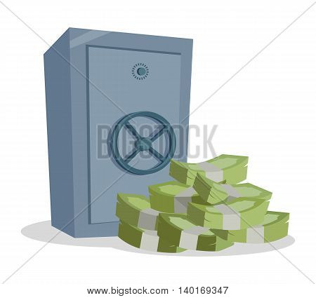 Accumulation and saving money vector concept. Banknotes stack and safe in flat style design. Security for savings. Illustration for credit, savings, charitable concepts. Isolated on white background.