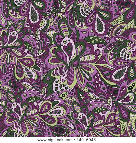 Doodle floral seamless pattern violet and green tones