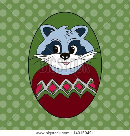 Raccoon in vinous jersey. Picture for clothes cards children's books