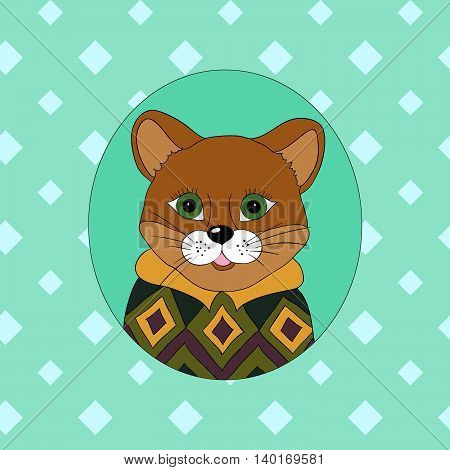 Cougar in the green jersey. Picture for clothes cards covers children's books