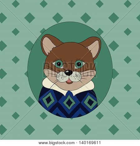 Cougar in the blue jersey. Picture for clothes cards covers children's books