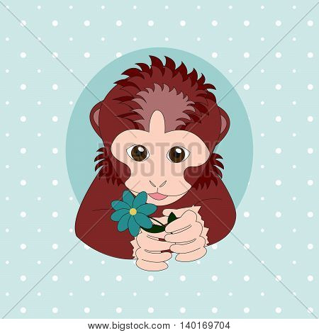Monkey holding a turquoise flower. Print for cards children's books clothes