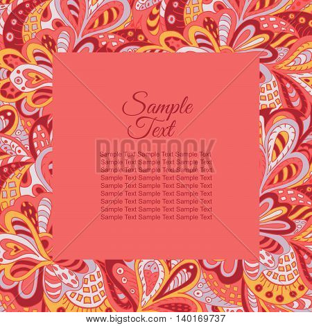 floral doodle ethnic pattern frame rosy tones for inscriptions photo. Cards labels packaging