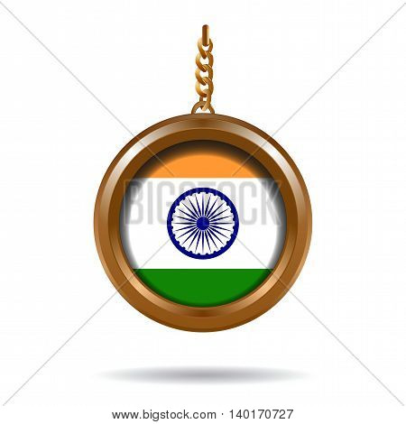 Round medallion on a chain with an India flag. Vector illustration
