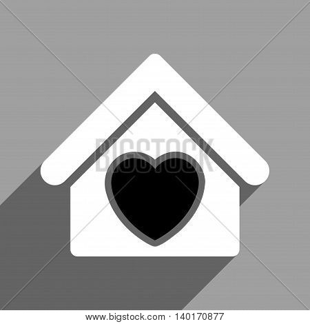 Hospice long shadow vector icon. Style is a flat hospice black and white iconic symbol on a gray square background.