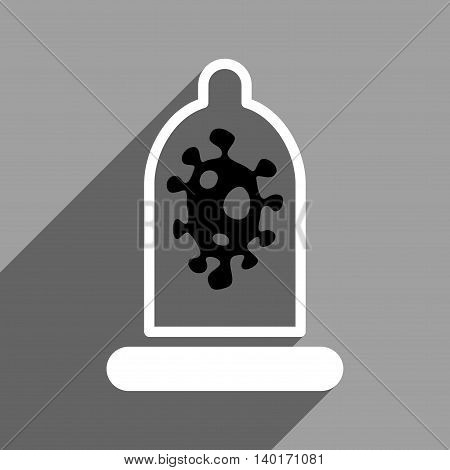 Infection Condom Protection long shadow vector icon. Style is a flat infection condom protection black and white iconic symbol on a gray square background.