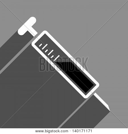 Injection long shadow vector icon. Style is a flat injection black and white iconic symbol on a gray square background.