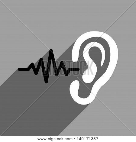 Listen Signal long shadow vector icon. Style is a flat listen signal black and white iconic symbol on a gray square background.