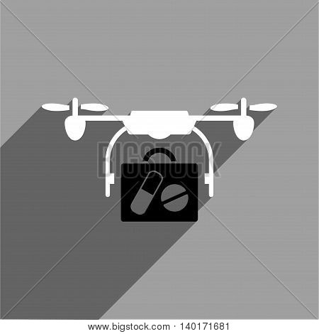 Medical Drone Shipment long shadow vector icon. Style is a flat medical drone shipment black and white iconic symbol on a gray square background.