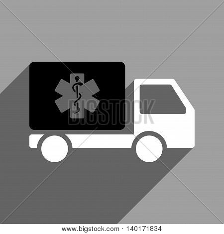 Medical Shipment long shadow vector icon. Style is a flat medical shipment black and white iconic symbol on a gray square background.